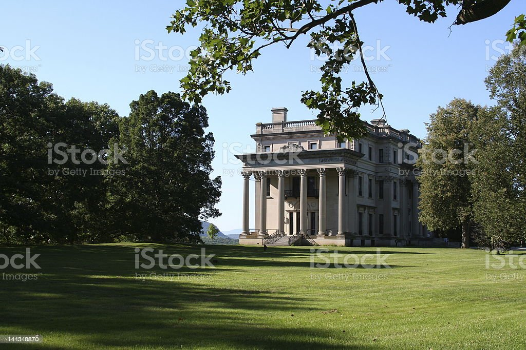 Vanderbilt mansion with columns stock photo