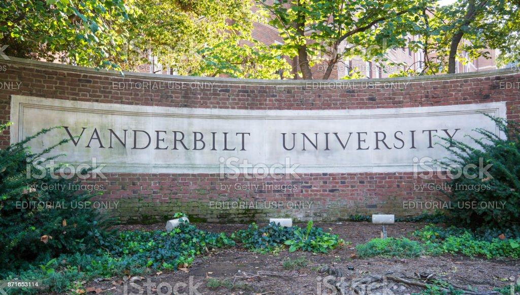 Vanderbilt University Sign Nashville, Tennessee - October 9, 2017: Sign at the entrance to Vanderbilt University Art Stock Photo