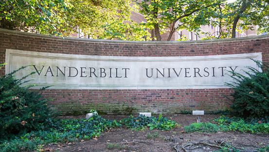 Vanderbilt University Sign Stock Photo - Download Image Now
