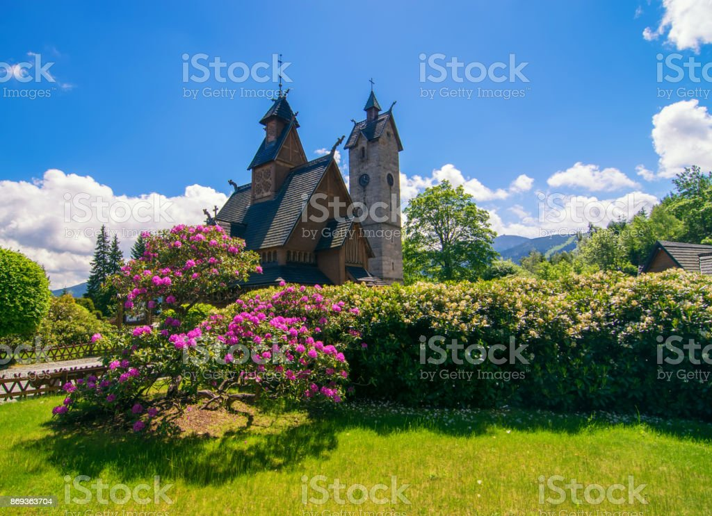 Vang medieval norwegian wooden church in Karpacz, Lower Silesia, Poland stock photo