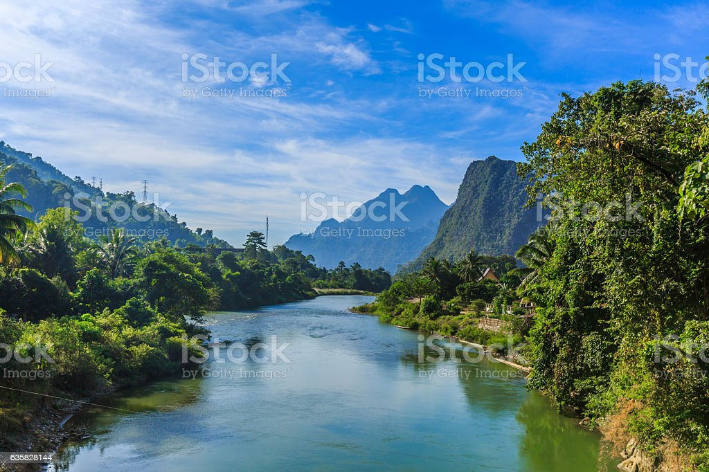 Vangvieng and Nam Song river in Laos stock photo