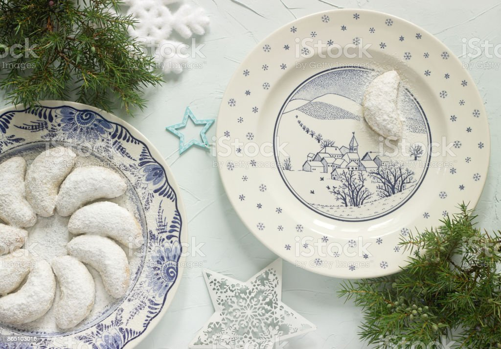 Vanilkipferl - vanilla crescents, traditional Christmas cookies in Germany, Austria, Czech Republic. stock photo