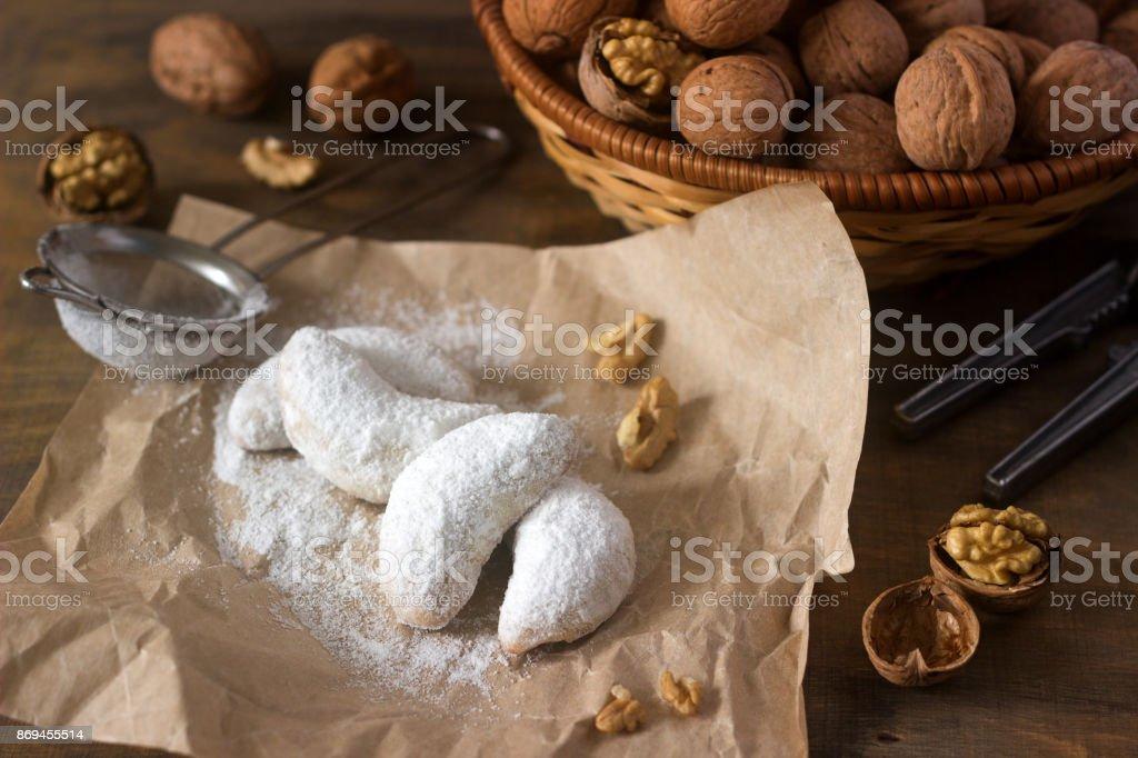 Traditionelles Weihnachtsgebäck.Vanilkipferl Vanille Halbmonde Traditionelles Weihnachtsgebäck In