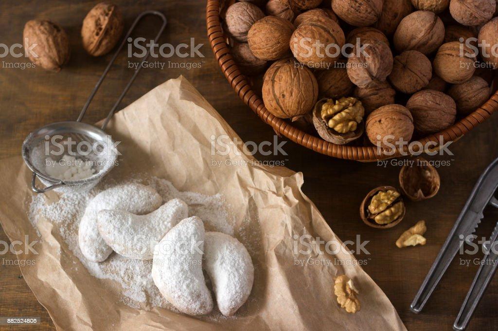 Vanilkipferl - vanilla crescents, traditional Christmas cookies in Germany, Austria, Czech Republic. Homemade cookies. stock photo