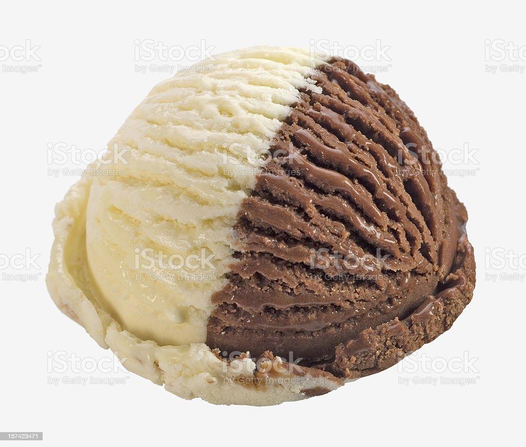 Vanilla and chocolate ice cream ball royalty-free stock photo