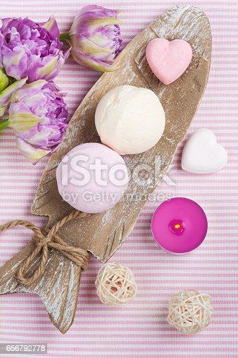 656780900istockphoto Vanilla and strawberry bath bombs 656792778