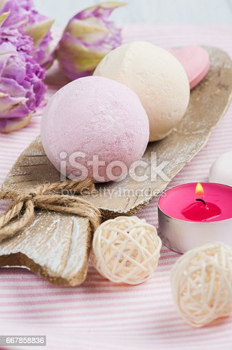 656780900istockphoto Vanilla and strawberry bath bombs 667858836