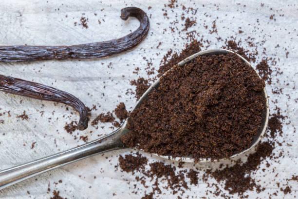 Vanille und Vanilleschoten auf einem Löffel-Makro – Foto