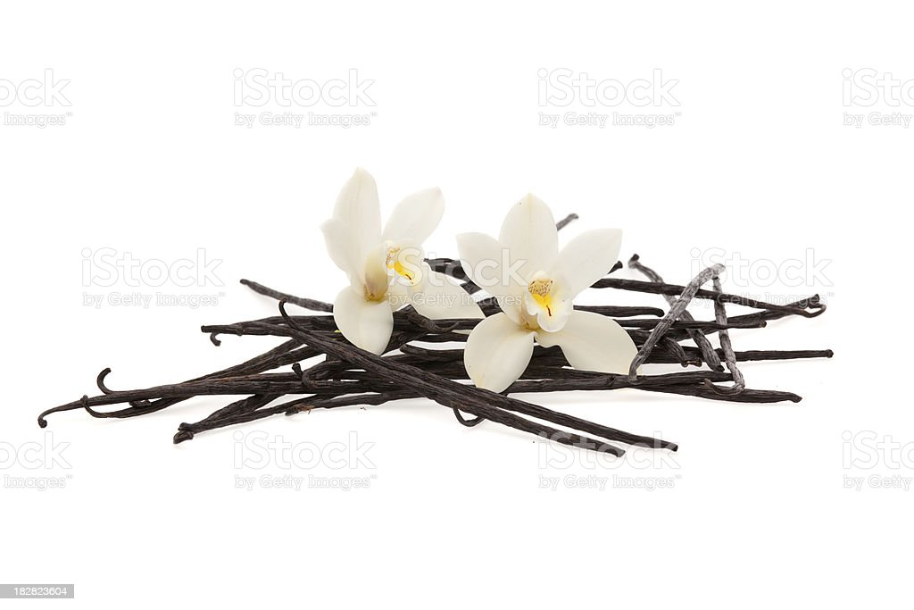 vanilla beans and flowers royalty-free stock photo