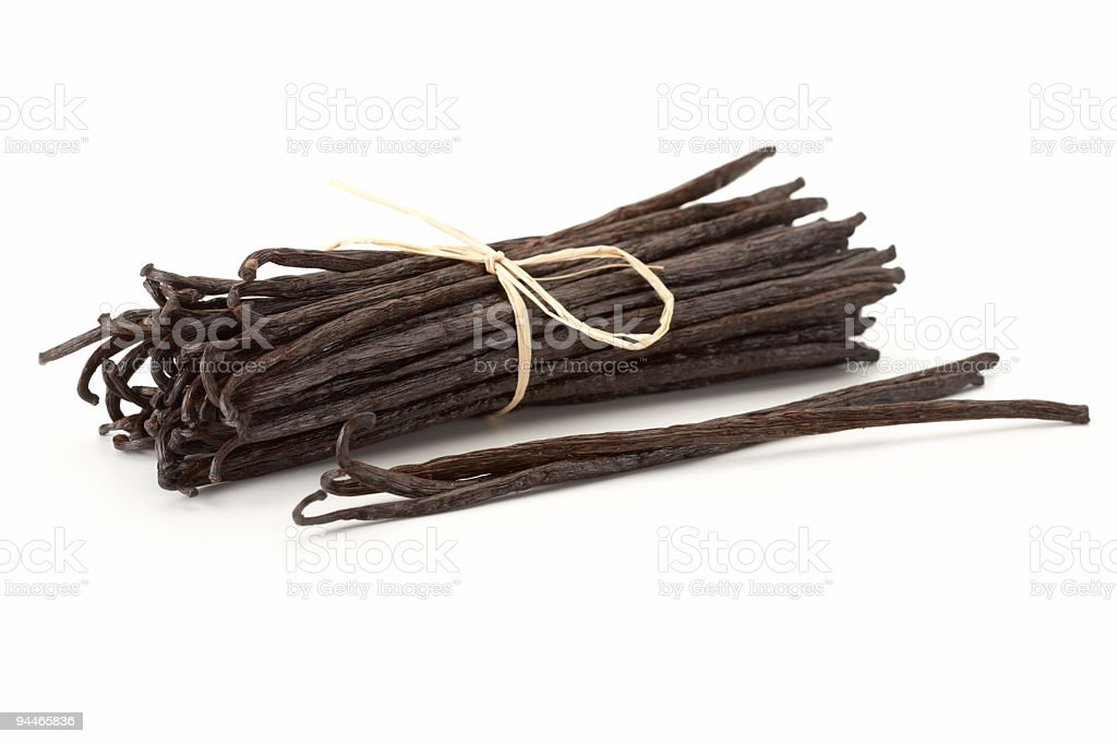vanilla beans bond together stock photo