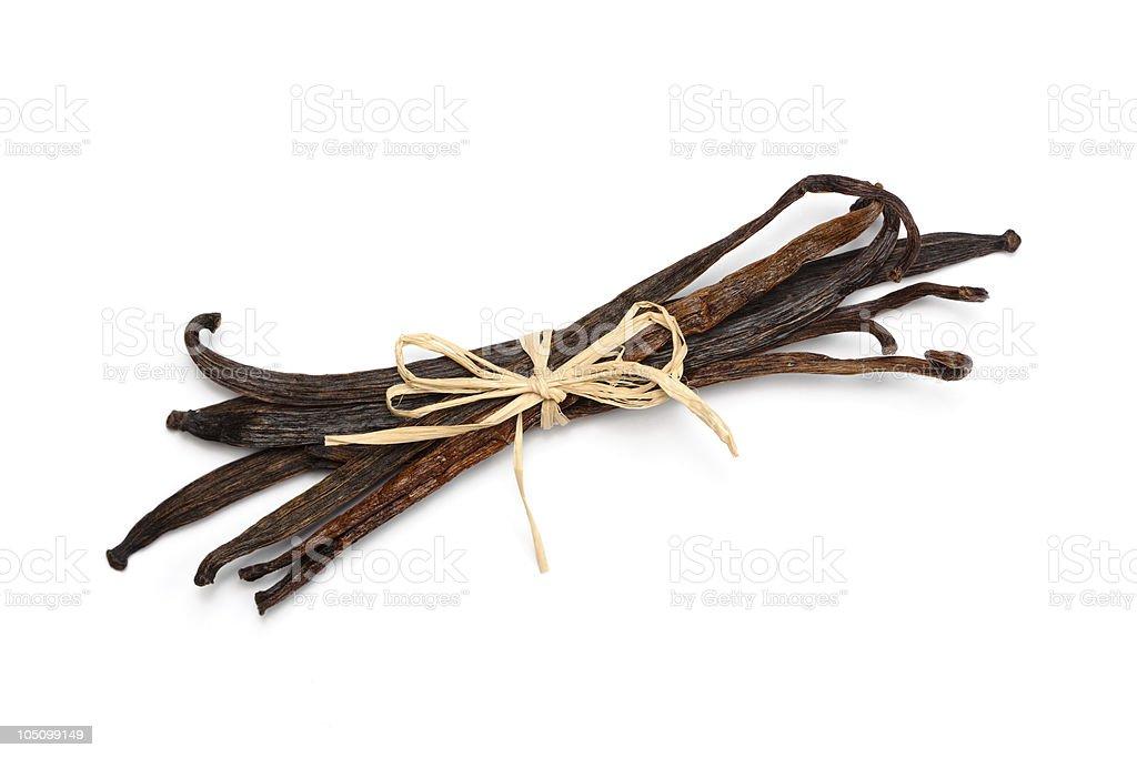 Vanilla beans bundle stock photo