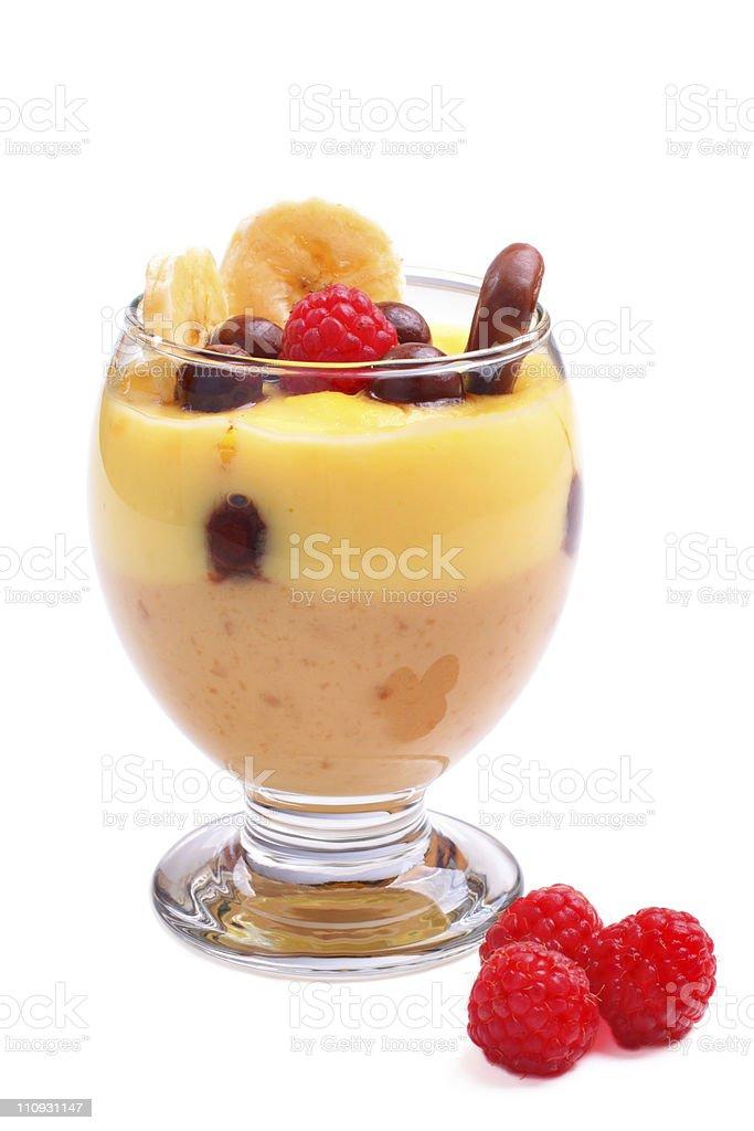Vanilla caramel pudding on white stock photo