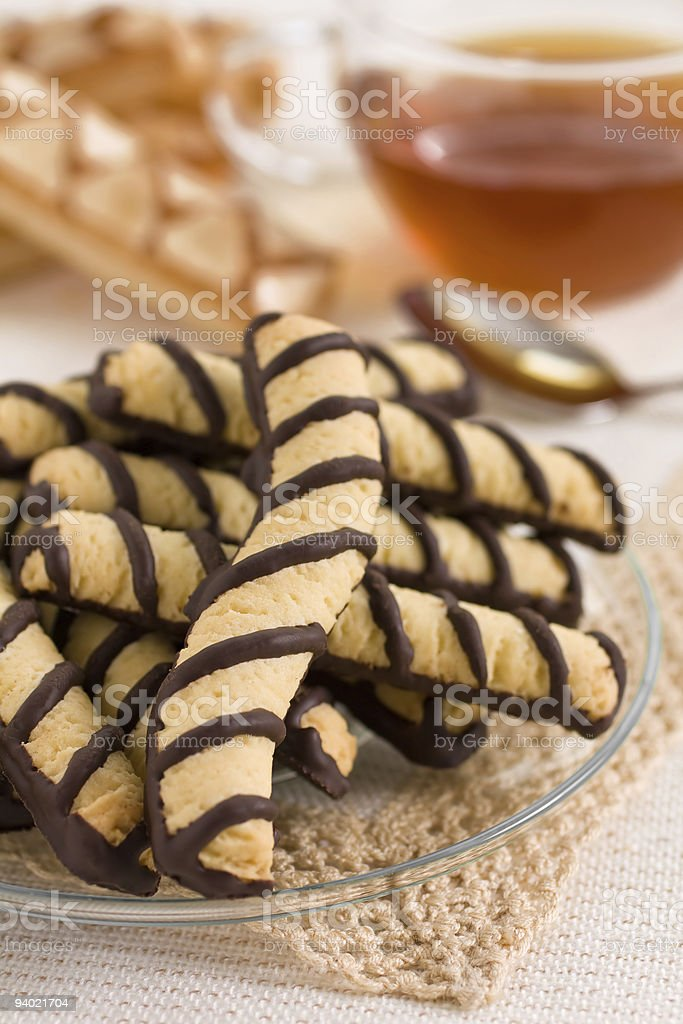 Vanilla chocolate cookies and tea royalty-free stock photo