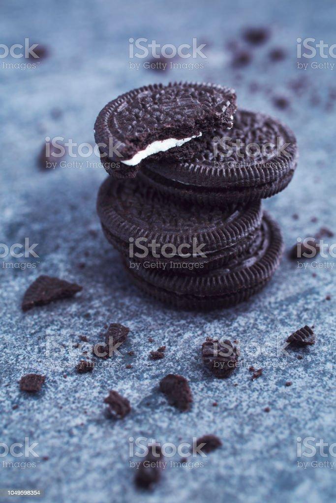 Vanilla Cream Filled Chocolate Cookies stock photo