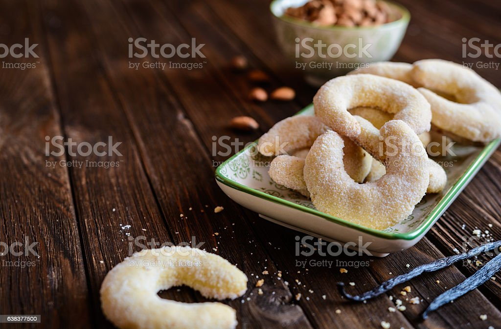 Vanilla crescents with almond stock photo