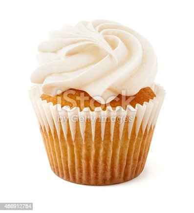 Vanilla Cupcake isolated on white