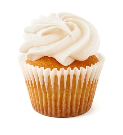 Vanilla Cupcake isolated on white