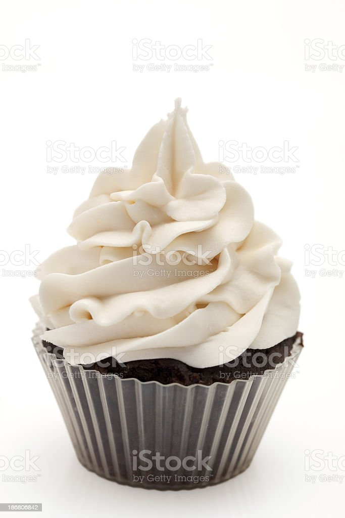 Vanilla frosted chocolate cupcake stock photo