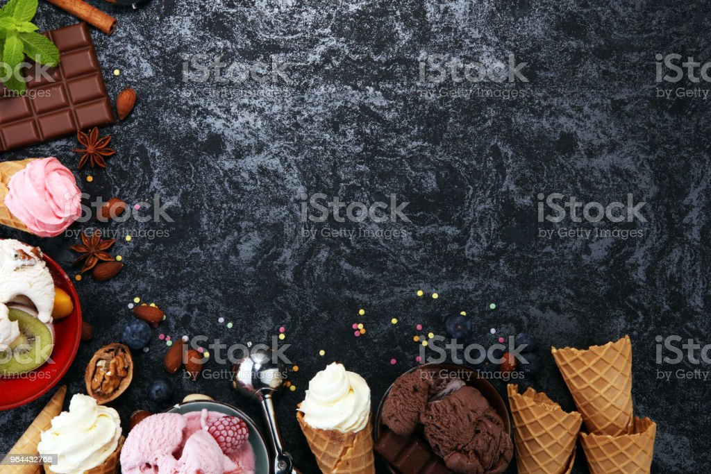 Vanilla frozen yogurt or soft ice cream in waffle cone in various flavour - Royalty-free Bowl Stock Photo