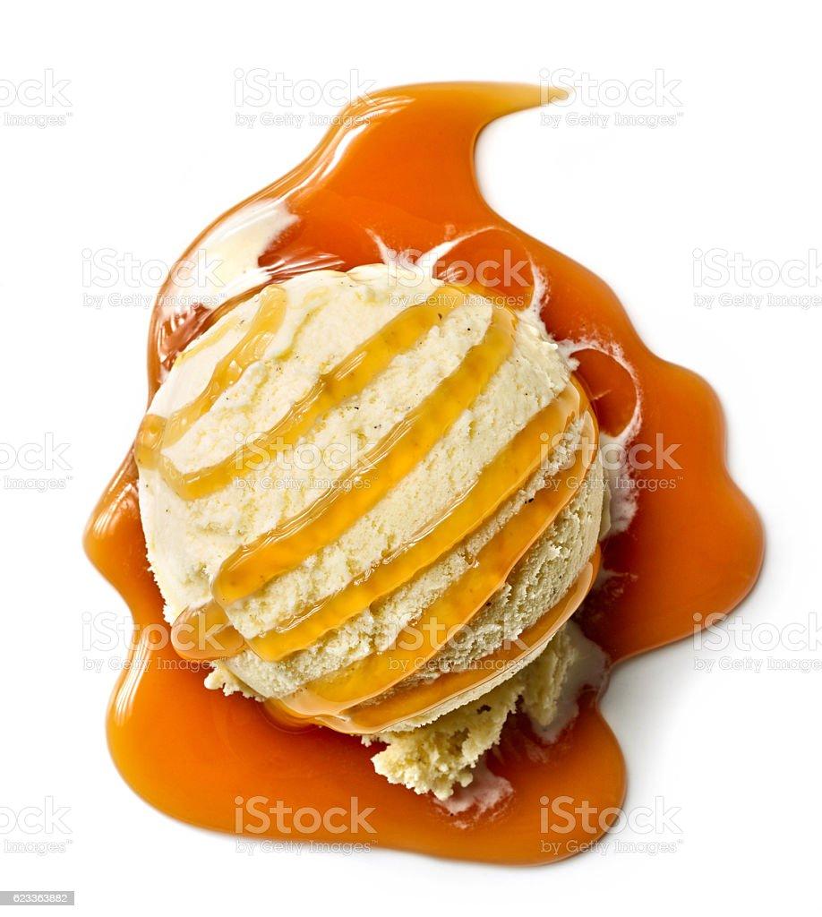vanilla ice cream ball stock photo