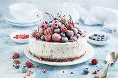 vanilla ice cream cake with frozen berries