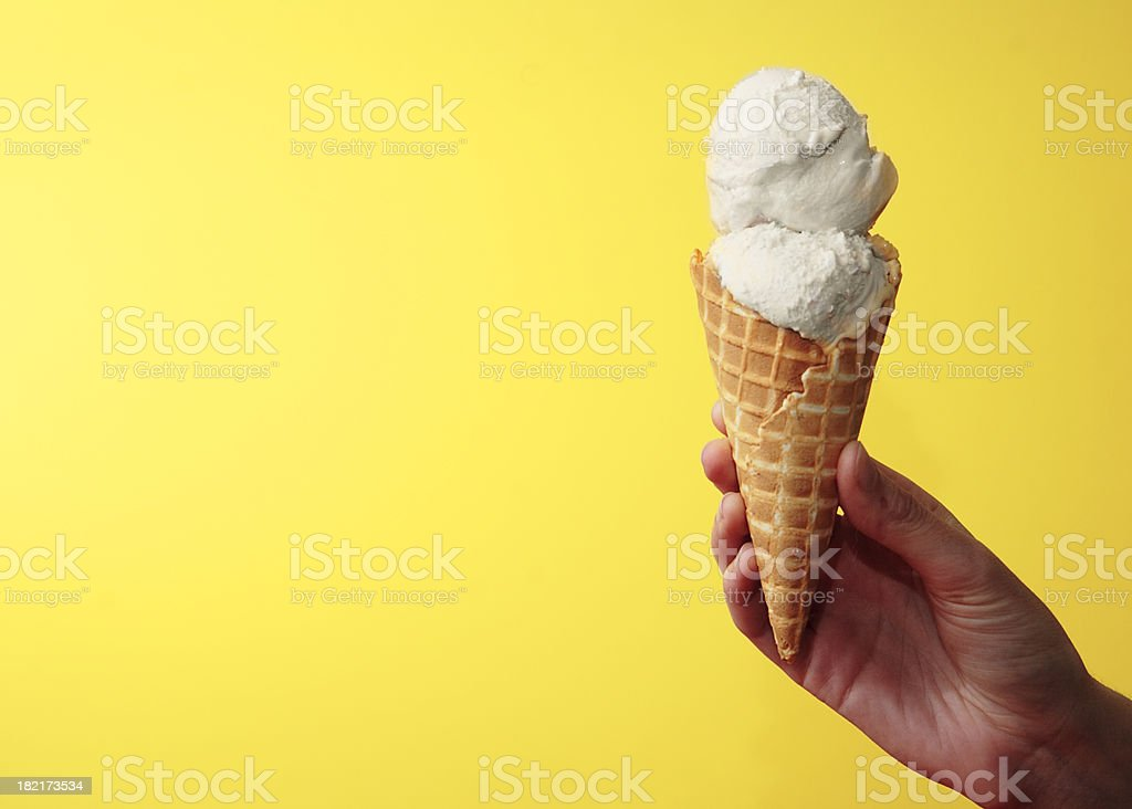 Vanilla Ice Cream Cone on Yellow with Space for Copy stock photo