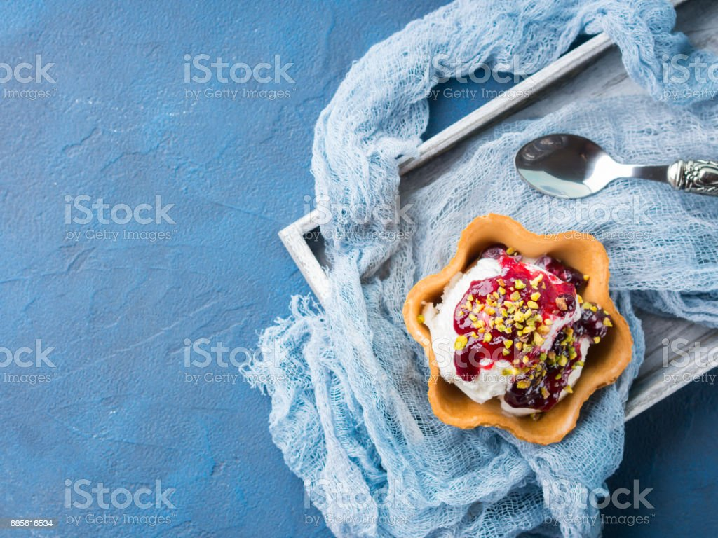 Vanilla ice cream scoops in waffle cup royalty-free stock photo