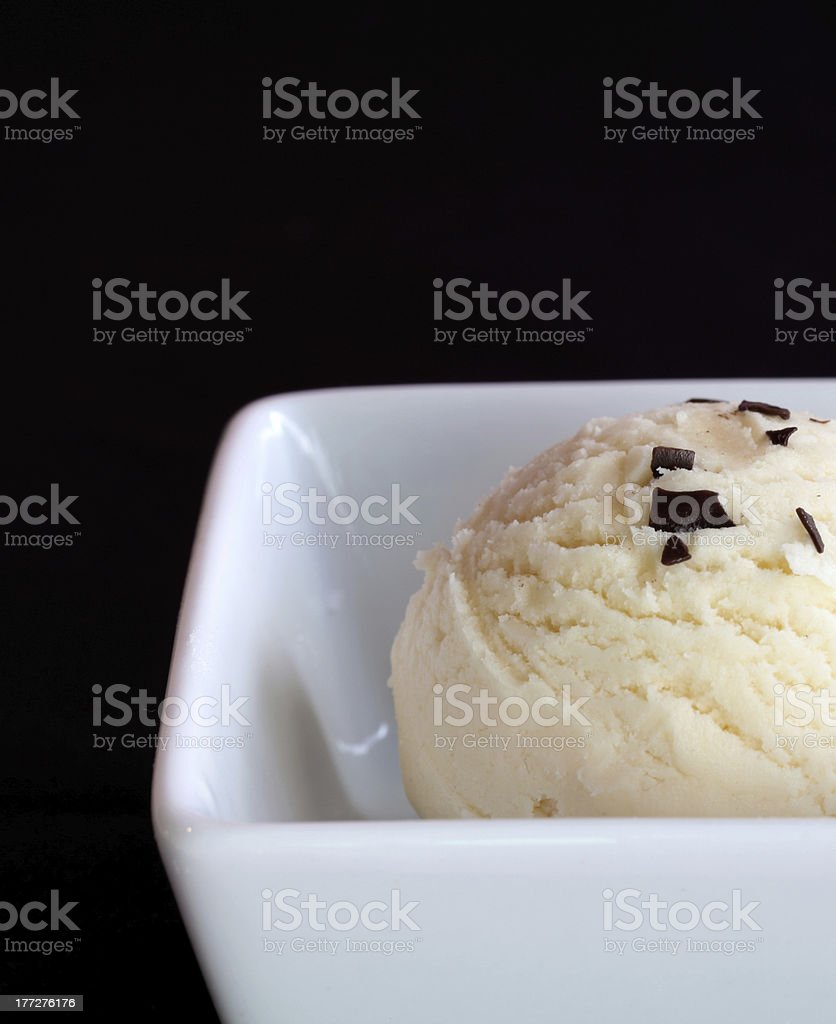Vanilla ice cream with chocolate flakes, detail royalty-free stock photo