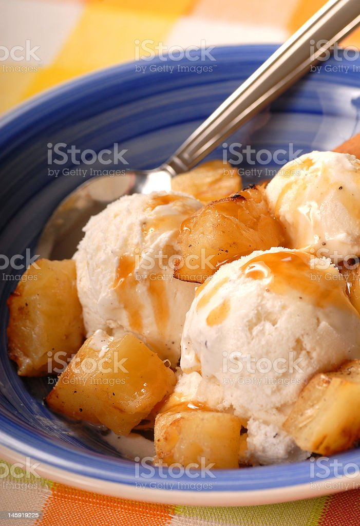 Vanilla ice cream with grilled pinneapple royalty-free stock photo