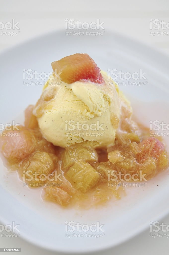 Vanilla Ice Cream with Rhubarb Compote royalty-free stock photo