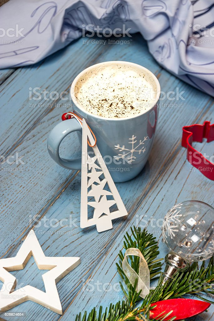 Vanilla latte and Christmas decorations stock photo