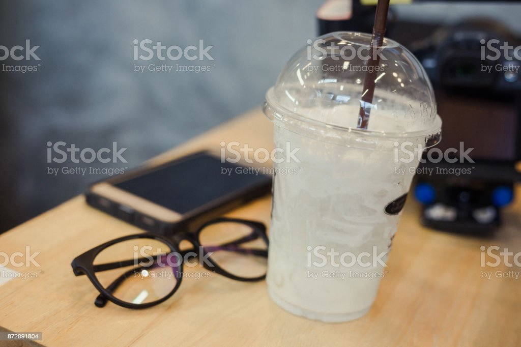 vanilla milk ice relaxing stock photo