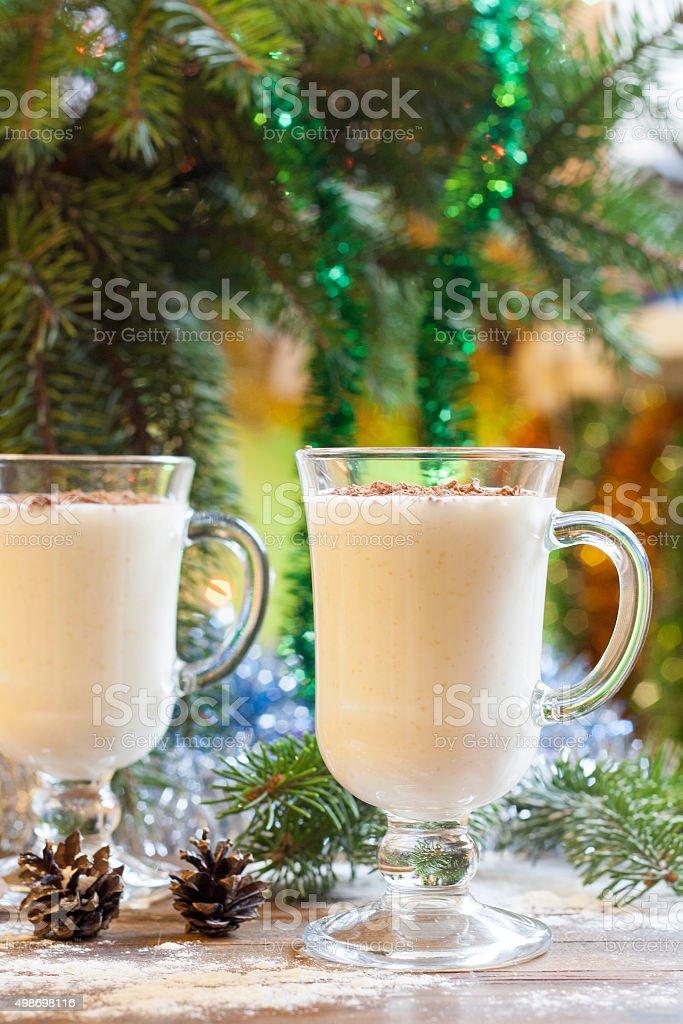 Vanilla panna cotta with chocolate royalty-free stock photo