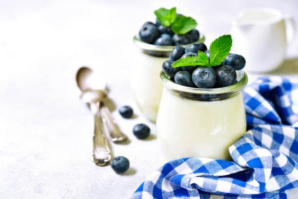 Vanilla panna cotta with fresh berries stock photo