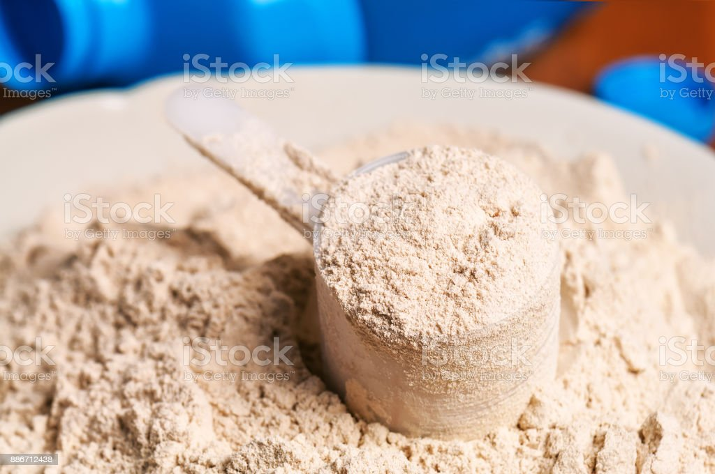 vanilla protein powder stock photo