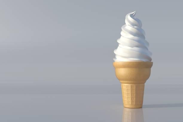 Vanilla Soft Serve Ice Cream or Frozen Yogurt stock photo