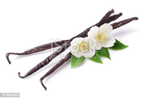 istock Vanilla sticks with flower and leaf isolated on white background 873663060