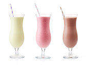 Strawberry, chocolate and vanilla milkshake isolated on white background