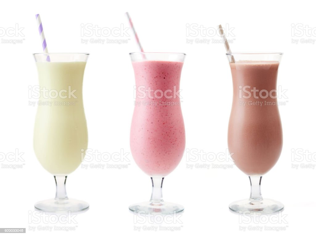 Vanilla, Strawberry and Chocolate milkshake stock photo