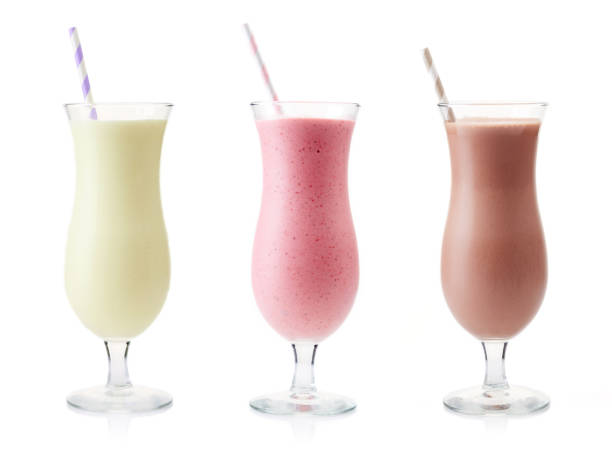 Vanilla, Strawberry and Chocolate milkshake stock photo