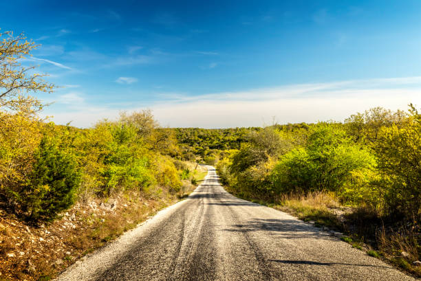 Vanishing highway in Texas Hill Country stock photo