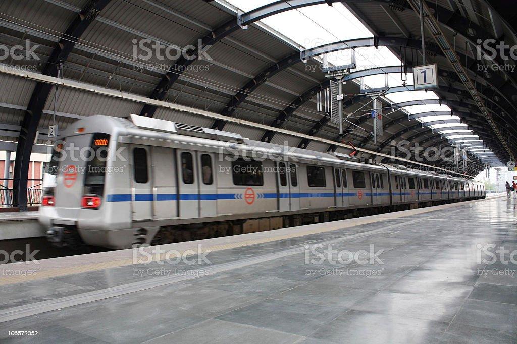 Vanishing point metro train station, Delhi, India stock photo