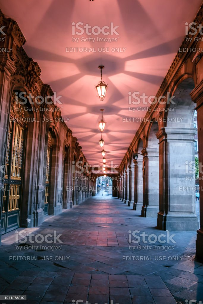 Vanishing point view of a beautiful long hall at the center of Mexico...