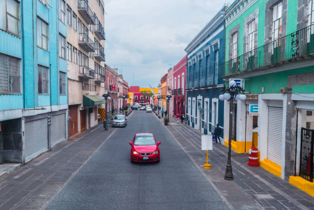 Vanishing point view of a street in Puebla stock photo