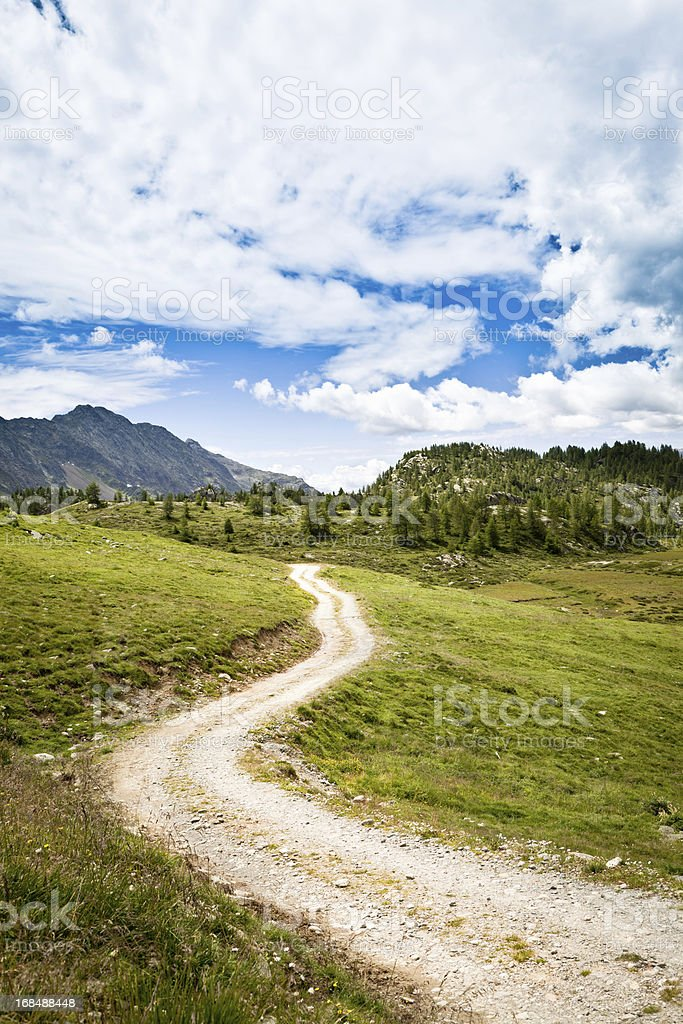 Vanishing way to the mountains royalty-free stock photo