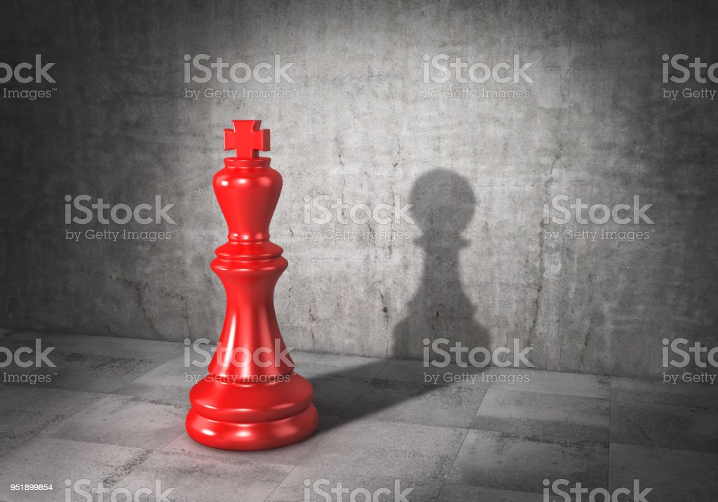 Vanity concept. King of chess cast shadow in form of pawn. 3d illustration stock photo