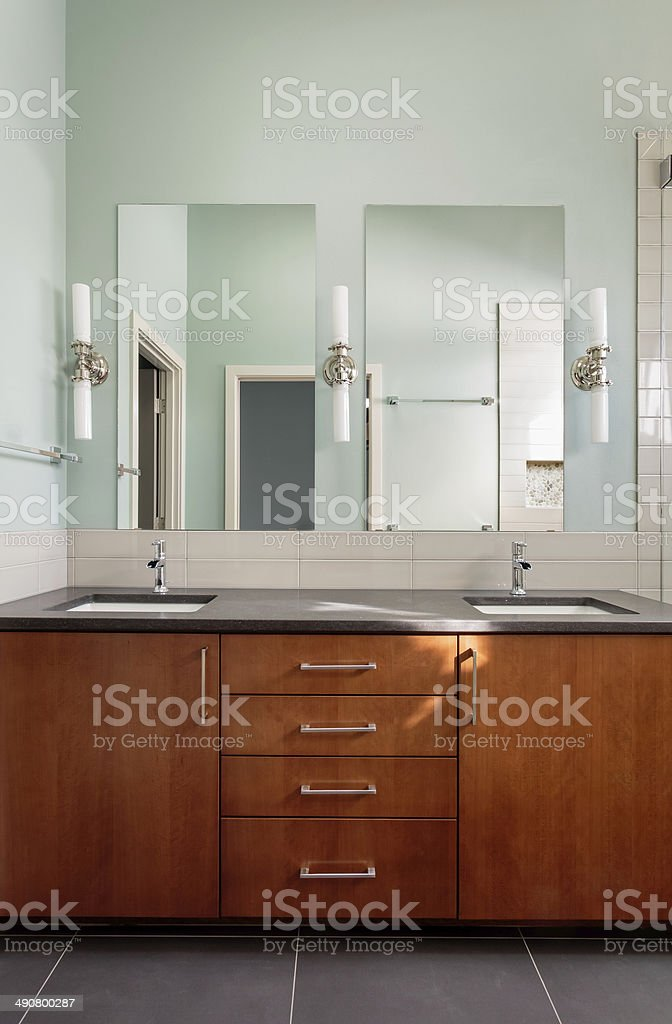 Vanity Double Sink And Mirrors In Modern Bathroom Stock Photo Download Image Now Istock