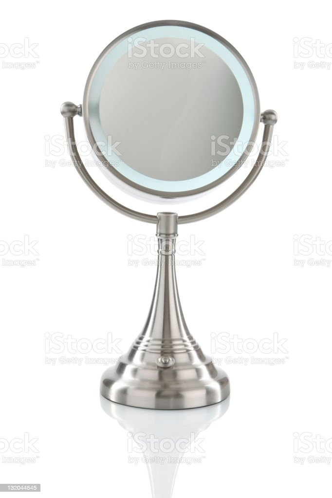 Vanity Mirror Isolated on White with Clipping Path stock photo