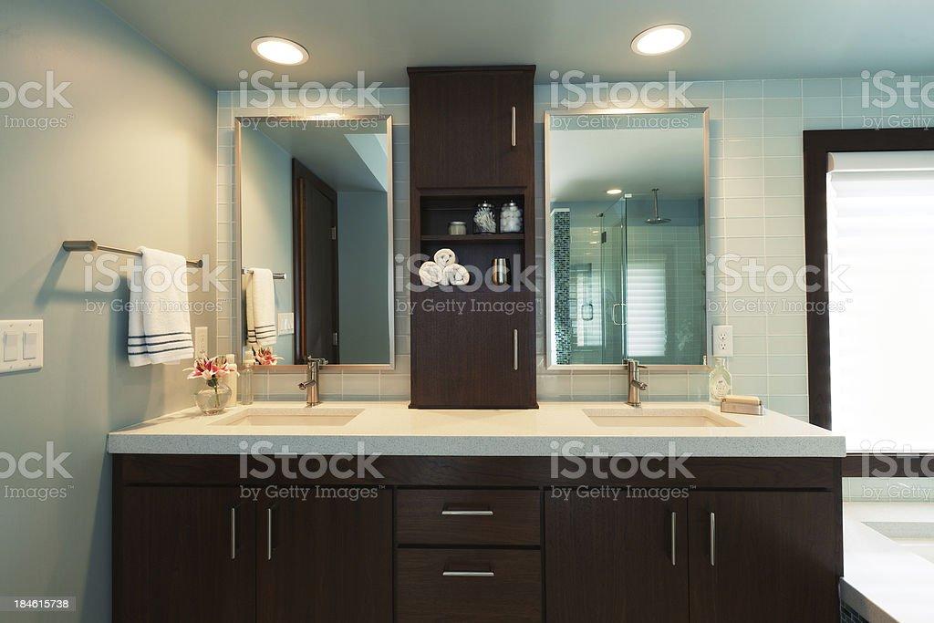 Vanity Sink and Bathtub of Modern Residential Home Bathroom Design stock photo