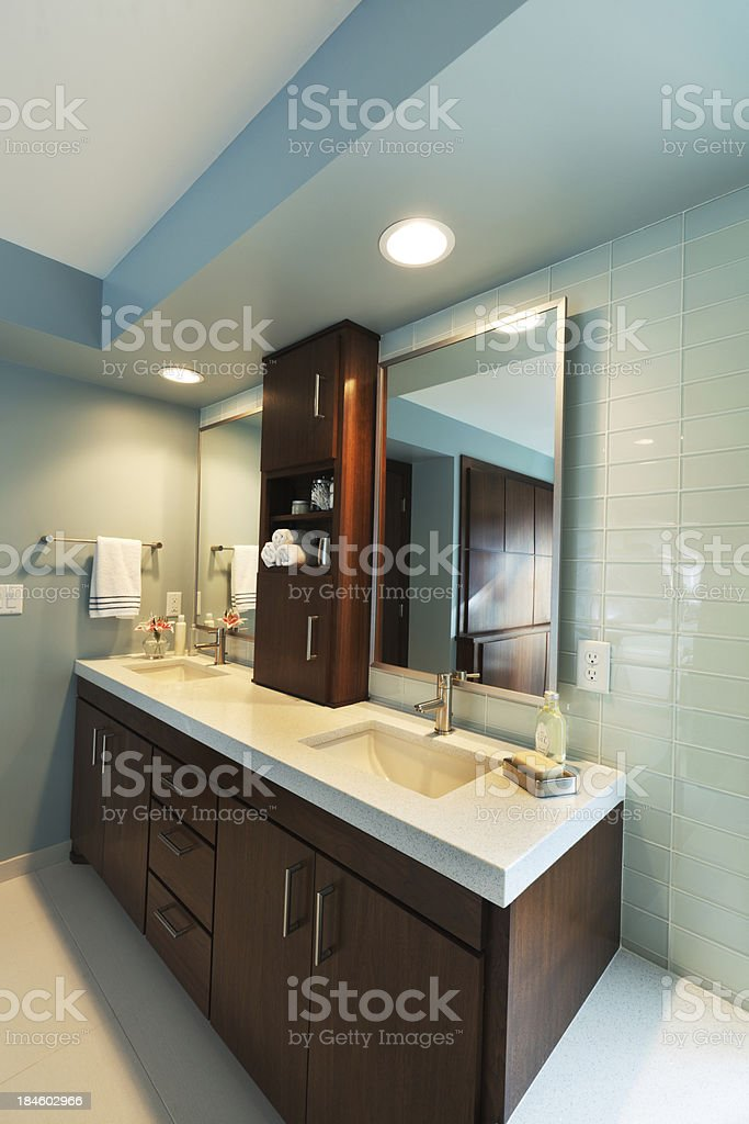 Vanity Sink and Mirror, Modern Residential Home Bathroom Interior Design stock photo